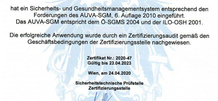 Zertifikat AUVA-SGM